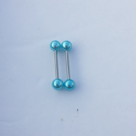 1 X Turquoise Blue Stone Body Jewellery Tongue Bar Barbell Nipple Piercing Ring